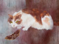 American:Modern, BERNARD PERLIN (American, b. 1918). Cat with Butterfly.Gouache on artist's board. 14-1/2 x 19-1/2 inches (36.8 x 49.5 c...
