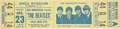 Music Memorabilia:Tickets, The Beatles Shea Stadium 1966 Concert Ticket Signed by SidBernstein....