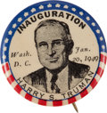 """Political:Pinback Buttons (1896-present), Harry S Truman: A Very Scarce 1¼"""" Inaugural Design...."""