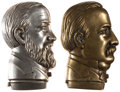 Political:3D & Other Display (pre-1896), Benjamin Harrison and Grover Cleveland: Brass Portrait MatchSafes.... (Total: 2 Items)