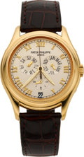 Timepieces:Wristwatch, Patek Philippe Ref. 5035J-001 Fine Gold Self-Winding WristwatchWith Center Seconds & Annual Calendar, circa 1998. ...