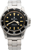 """Timepieces:Wristwatch, Rolex Ref. 5513 """"Feet First"""" Steel Submariner With Box & Papers, circa 1970. ..."""