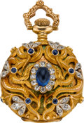 Timepieces:Pendant , Elgin Diamond & Sapphire Pendant Watch With Enamel, circa 1899....