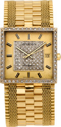 Timepieces:Wristwatch, Juvenia Gent's Gold & Diamond Automatic Wristwatch, circa 1975....