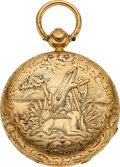 Timepieces:Pocket (pre 1900) , J.H. Droz Ginnel Unusual Gold Keywind, circa 1860. ...