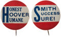 Political:Pinback Buttons (1896-present), Herbert Hoover and Al Smith: Highly Distinctive Slogan Buttons.... (Total: 2 Items)