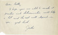Autographs:Letters, Jackie Robinson Hand Written Signed Note. Beautifully preservednote hand written and signed by Jackie Robinson. It is a br...