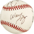 Autographs:Baseballs, 1972-73 New York Knicks Team Signed Baseball. Four of the stars ofthe 1972-73 NBA Champion New York Knicks have checked in...