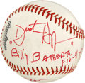 "Autographs:Baseballs, 1991 Baseball Signed by the Cast of ""Billy Bathgate"". Signed in1991 on the set of the film Billy Bathgate, this Rawlin..."