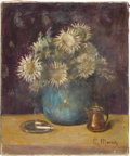 Fine Art - Painting, American:Contemporary   (1950 to present)  , S. MORIN (Twentieth Century). Still Life of Flowers andCigarette. Oil on canvas. 22in. x 18-1/4in.. Signed at lowerrig... (Total: 1 Item)