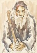 Fine Art - Painting, American:Other , DAVID GILOA. Portrait of a Man with Beard. Watercolor andgraphite on paper. 13-1/4in. x 9-1/4in.. Signed at lower left ...(Total: 1 Item)