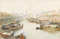 Fine Art - Painting, European:Antique  (Pre 1900), Attributed to JEAN HENRI ZUBER (French, 1844-1909). Seine River, Paris. Watercolor on paper. 11in. x 17-1/2in.. Signed a... (Total: 1 Item)
