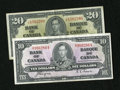 Canadian Currency: , BC-23c; BC-25c $10; $20 1937.. . ... (Total: 2 notes)