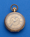 Timepieces:Pocket (pre 1900) , Swiss 18K Fancy Engraved 38 mm Open Face. ...