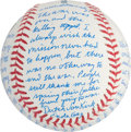 Autographs:Baseballs, Dutch Van Kirk Single Signed Enola Gay Story Ball. ...