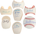 Autographs:Baseballs, Don Larsen Perfect Game Inscription Signed Baseballs WithCollection of Signed Baseball Panels (5)....