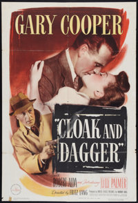 """Cloak and Dagger (Warner Brothers, 1946). One Sheet (27"""" X 41""""). Thriller"""