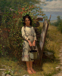 JOHN GEORGE BROWN (American, 1831-1913) Blackberry Picking Oil on canvas 30 x 25 inches (76.2 x 6