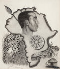 Fine Art - Work on Paper:Drawing, JOHN BIGGERS (American, 1924-2001). Untitled (Map ofAfrica), 1986. Crayon and graphite on paper . 26 x 20-1/2inches (6...