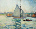 American:Impressionism, HAYLEY LEVER (American, 1876-1958). Sailboat in a Harbor.Oil on board. 13 x 16 inches (33.0 x 40.6 cm). Signed lower ri...
