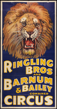 """Circus Poster (Ringling Brothers and Barnum & Bailey, 1930s). Poster (41"""" X 81""""). Miscellaneous"""