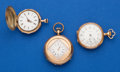 Timepieces:Pocket (post 1900), Three 14k Gold Pendant Watches. ... (Total: 3 Items)