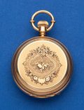 Timepieces:Pocket (pre 1900) , Waltham 18k Enamel Heavy 6 Size Hunters Case with Inner Dust Coverand Inner Gold Photo Frame Lid. ...