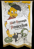 "Movie Posters:Animated, Pinocchio (RKO, 1940). Silk Banner (37"" X 54""). Animated.. ..."