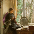 Fine Art - Painting, European:Modern  (1900 1949)  , HAROLD KNIGHT (British, 1874-1961). By the Window. Oil oncanvas. 18 x 18 inches (45.7 x 45.7 cm). Signed lower left: ...