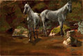 American:Hudson River School, ALBERT BIERSTADT (American, 1830-1902). Study of WildHorses. Oil on paper laid on canvas. 13 x 19 inches (33.0 x48.3 c...