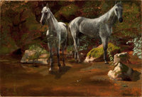 ALBERT BIERSTADT (American, 1830-1902) Study of Wild Horses Oil on paper laid on canvas 13 x 19 i