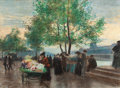 Fine Art - Work on Paper:Drawing, VICTOR GABRIEL GILBERT (French, 1847-1933). Marchands aux Bordsde la Seine, Paris. Pastel on paper . 16-1/2 x 22-1/2 in...