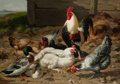 Fine Art - Painting, European:Antique  (Pre 1900), Eugène Rémy Maes. (Belgian, 1849-1931). The Barnyard . Oilon canvas . 33-3/4 x 48 inches (85.7 x 121.9 cm). Signed low...