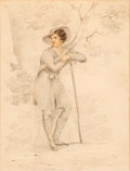 Fine Art - Painting, American:Antique  (Pre 1900), GEORGE HENRY BOUGHTON (American, 1833-1905). Portrait of a YoungMan, circa 1850s. Graphite and watercolor on paper. 8-1...