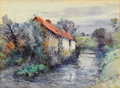 Fine Art - Painting, American:Antique  (Pre 1900), FREDERIC CHARLES VIPOND EDE (American, 1865-1907). Pair ofLandscapes with Cottages (2). Watercolor on paper. 11-1/2...