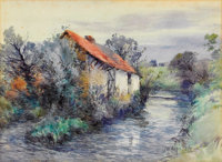 FREDERIC CHARLES VIPOND EDE (American, 1865-1907) Landscape with Cottage Watercolor on paper 11-1