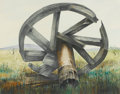 Fine Art - Painting, American:Contemporary   (1950 to present)  , JOYCE GILBERT (American, Late 20th Century). The Bullwheel,1980. Watercolor on paper. 23-1/2 x 19-1/2 inches (59.7 ...
