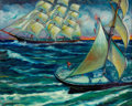 Fine Art - Painting, American:Modern  (1900 1949)  , WILLIAM BRADFORD GREEN (American, 1871-1945). Ships at Sea,1933. Oil on canvas. 24 x 30 inches (61.0 x 76.2 cm). Signed...