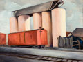 Fine Art - Painting, American:Modern  (1900 1949)  , CARL E. HILLER (American, 20th Century). Grain Silo. Oil onboard. 18 x 24 inches (45.7 x 61.0 cm). Inscribed verso: ...