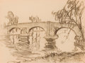 Fine Art - Work on Paper:Drawing, WILLIAM SAMUEL HORTON (American, 1865-1936). Pink Bridge,Sonning, circa 1912. Charcoal on paper. 7-1/2 x 9-3/4 inches(...
