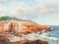 Fine Art - Painting, American:Contemporary   (1950 to present)  , ARNOLD WARBURTON LAHEE (American, 1888-1976) . Rocky Coast, 1953. Oil on canvas laid on board. 12-1/4 x 16-1/4 inches (3...