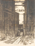 Prints:American, JOSEPH PENNELL (American, 1857-1926). At the Bottom of GatunLock, Panama Canal, 1912. Lithograph on paper. 22 x 16 inch...