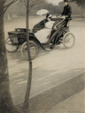 Fine Art - Work on Paper:Drawing, GEORGE A. WILLIAMS (American, 1875-1932). Motoring Through thePark, 1899. Graphite and gouache on paper. 15-3/4 x 12 in...