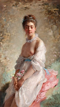 Fine Art - Painting, European:Antique  (Pre 1900), CHARLES CHAPLIN (French, 1825-1911). A Beauty with a Bouquet. Oil on canvas . 31-1/2 x 18-1/2 inches (80.0 x 47.0 cm). S...