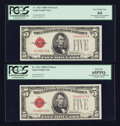 Small Size:Legal Tender Notes, Fr. 1531 $5 1928F Narrow/Wide I Legal Tender Notes. Changeover Pair. PCGS Very Choice New 64 & PCGS Gem New 65PPQ.. ... (Total: 2 notes)