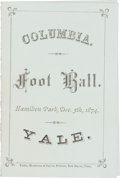 Football Collectibles:Programs, 1874 Columbia Vs. Yale Football Program....