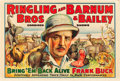 "Movie Posters:Miscellaneous, Bring 'Em Back Alive (Ringling Bros. and Barnum & Bailey,1938). Circus Poster (28"" X 42"").. ..."