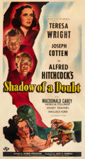 "Movie Posters:Hitchcock, Shadow of a Doubt (Universal, 1943). Three Sheet (41"" X 81"").. ..."