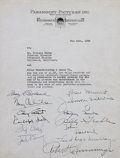 Movie/TV Memorabilia:Autographs and Signed Items, Paramount Agreement Signed by Cary Grant, Betty Grable, Henry Fonda, and More....