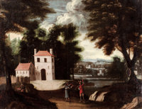 PROPERTY OF A LADY  FLEMISH SCHOOL (18th Century) Three Landscapes with Figures (3) Oil on ca